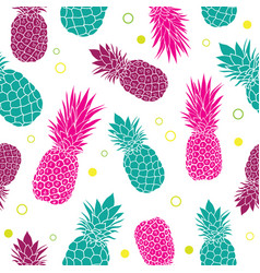 Green pink pineapples summer colorful vector