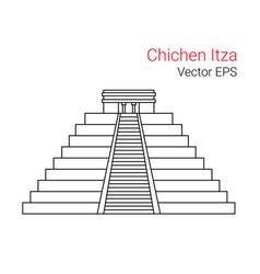 line flat icon of chichen itza mexico vector image