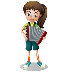 Little girl playing accordion vector image vector image