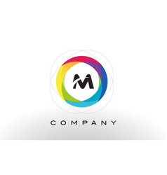 m letter logo with rainbow circle design vector image