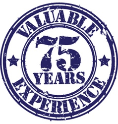 Valuable 75 years of experience rubber stamp vect vector image vector image