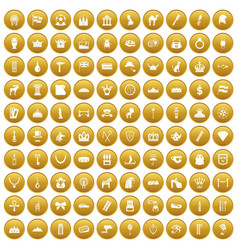 100 crown icons set gold vector