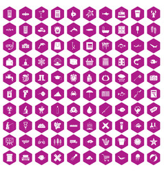 100 fish icons hexagon violet vector image