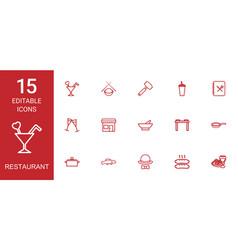 15 restaurant icons vector
