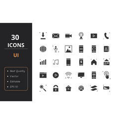 30 ui solid icons vector