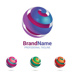 3d abstract logo stylised spherical surface vector image
