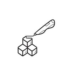 3d doodler pen and cubes hand drawn outline doodle vector image