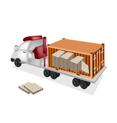A Trailer Loading Wooden Palettes in Container vector