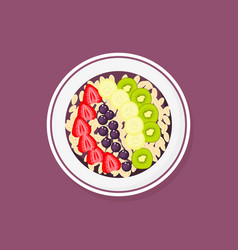 Acai smoothie bowl with strawberries banana kiwi vector