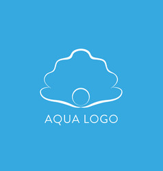 aqua logo shell logo abstract design vector image