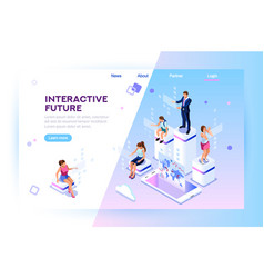 augmented reality isometric banner vector image
