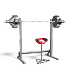 Barbell on rack and chalk powder in bowl vector