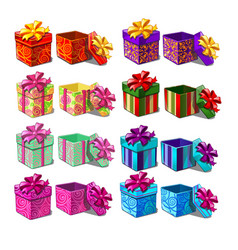 big set gift boxes isolated on white background vector image