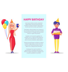 birthday party celebration man and woman cake vector image