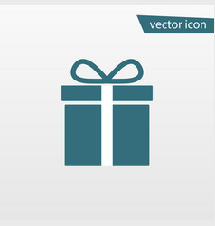 blue gift icon isolated on background modern flat vector image