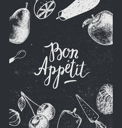 Bon appetit poster banner black and white vector