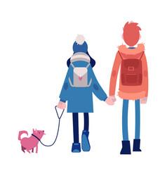 Boy and girl in autumn vector