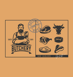 butcher logo with icons in vintage style vector image