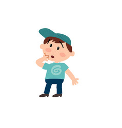 Cartoon character white white boy with blue cap vector