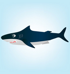 cartoon evil white shark vector image