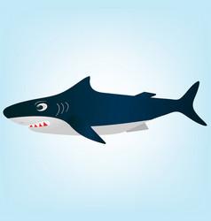 cartoon evil white shark vector image