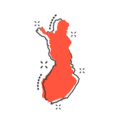 cartoon finland map icon in comic style finland vector image