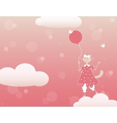 cat with ballon vector image