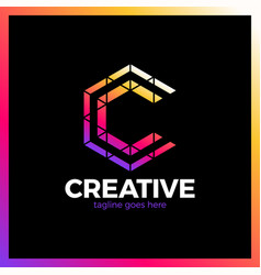 Clever creative triangle colorful letter c smart vector