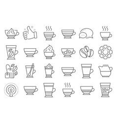 Coffee types and tea icons mocha cappuccino vector