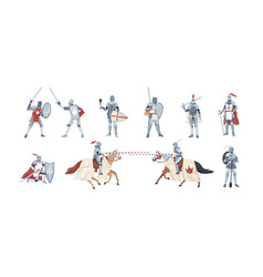 Collection knights bundle warriors holding vector