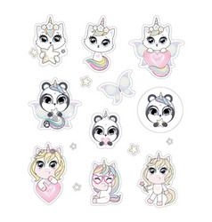 collection stickers with cute baby unicorns vector image
