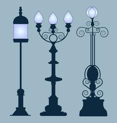 Collection street lamps art nouveau style vector