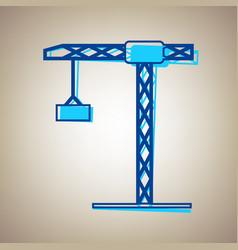 Construction crane sign sky blue icon vector