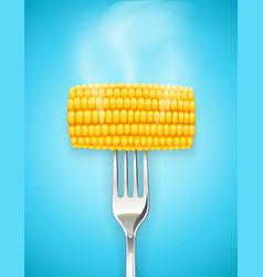 Corn cob at fork organic vector