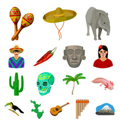 country mexico cartoon icons in set collection for vector image