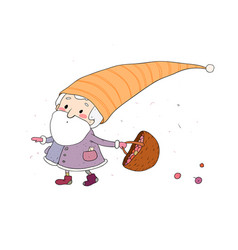 Cute cartoon gnome old elf with an acorn forest vector