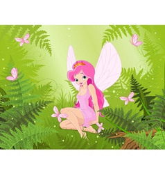 Cute fairy into magic forest vector