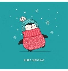 Cute happy penguin - merry christmas greetings vector