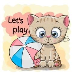 Cute Kitten with a ball vector