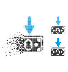 Disappearing dot halftone banknotes income icon vector