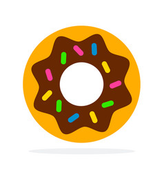 donut with icing flat material design isolated vector image