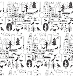 Doodles urban city life street objects black vector