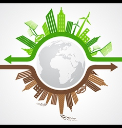 Ecology Concept - eco and polluted cityscape vector image