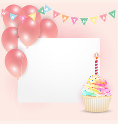 Empty card with creamy cupcake and balloons vector
