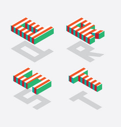 English isometric alphabet with bright red stripes vector