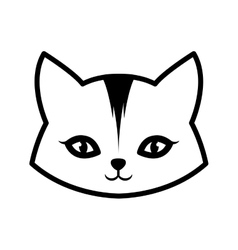 Face cat animal domestic furry outline vector