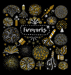 Festive golden firework icons set vector