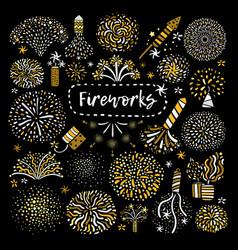 festive golden firework icons set vector image