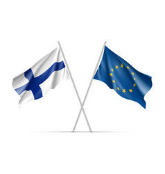 finland and european union waving flags vector image