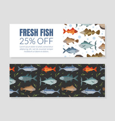 fresh fish flyer coupon template seafood market vector image